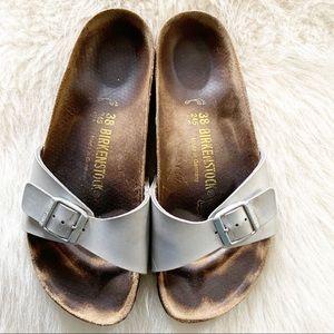 Birkenstock slides silver sz 38